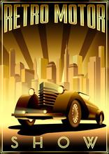 Retro Car Motor Show Vintage P...