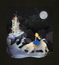 Fairy Tale Illustration Girl Riding Polar Bear In Front Of Winter Castle
