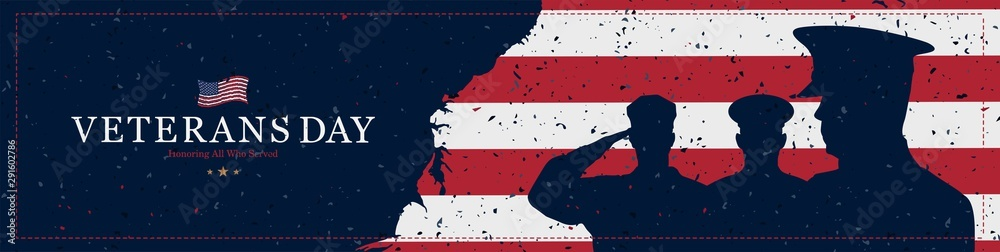 Fototapeta Happy Veterans Day. Greeting card with USA flag and soldiers on background with texture. National American holiday event. Flat vector illustration EPS10