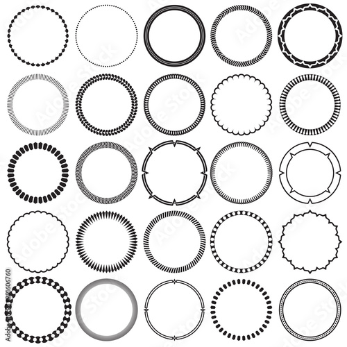 Collection of Round Decorative Ornamental Border Frames with Clear Background Canvas Print