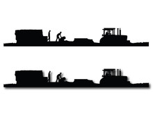 Black And White Silhouettes Of A Tractor Pulling A Baler And Wagon In A Field Of Straw Or Hay With Two Men Working On The Wagon.  One With A Drop Shadow And One Without.