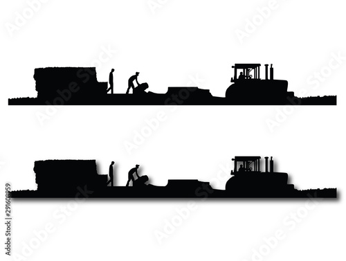 Photo Black and white Silhouettes of a tractor pulling a baler and wagon in a field of straw or hay with two men working on the wagon