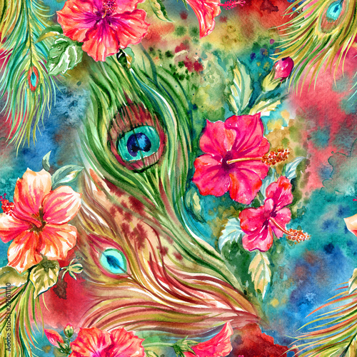 Naklejki paw   seamless-pattern-of-peacock-feathers-and-hibiscus-red-flowers-bright-tropical-print-for-fabrics-and-other-designs-floral-watercolor-illustration