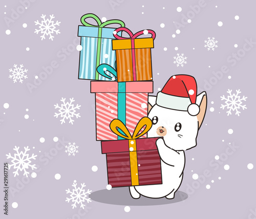 Adorable cat is holding gift boxes on snowflake background Tableau sur Toile