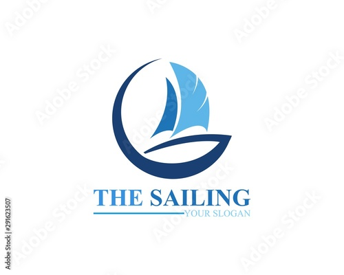 Fototapeta Sailing ship boat vector logo icon template design