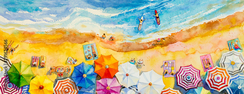 Foto auf AluDibond Melone Painting watercolor seascape Top view colorful of lovers family vacation.
