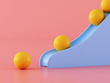 Yellow Ball With Blue Slider On Pink Background,Minimal Style. 3D Rendering