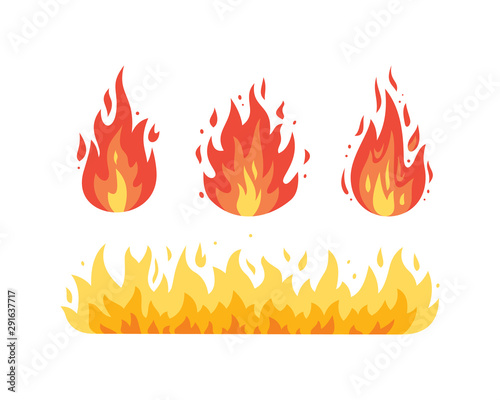 Obraz Fire flame vector icons in cartoon style. Flames of different shapes. - fototapety do salonu