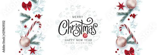Fotomural  Christmas Decorative Border made of Festive Elements Background