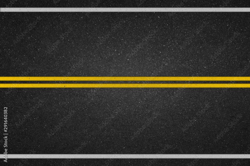 Fototapeta Double yellow lines on asphalt road