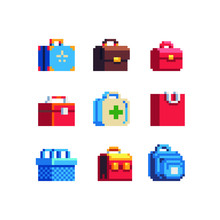 Bags Set, Backpack, First Aid Kit, Retro Suitcase, Basket Pixel Art Shopping Icon. Isolated On White Background Vector Illustration. Design For Stickers, Mobile App, Web And Logo. 8-bit Sprite.