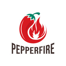 Chili Pepper Fire Logo Concepts. Closeup Burned Cayenne Pepper For Spicy Food Ingredients Or Capsicum Salsa Cooking, Vector Illustration