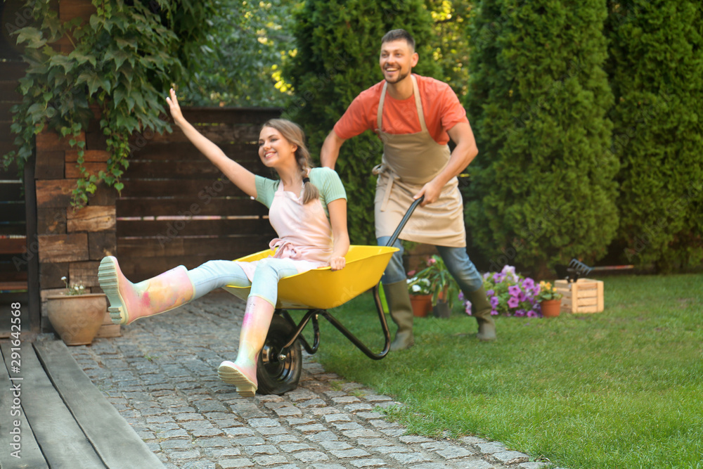Fototapety, obrazy: Happy couple having fun while working together in garden