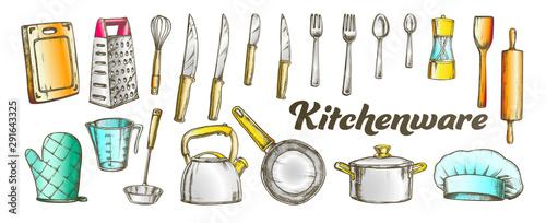 Fotografía Kitchenware Utensils Collection Color Set Vector