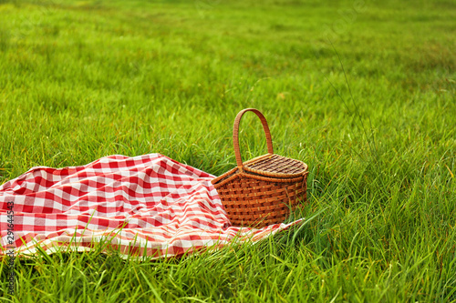 Aluminium Prints Picnic Picnic blanket and basket on grass in park