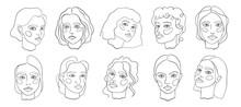 Abstract Minamal Face Line Art. Set Elegant Women Sketch.