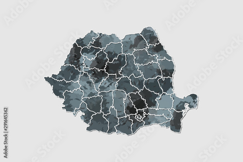 Fototapeta Romania watercolor map vector illustration of black color with border lines of d