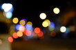 Blurred background - night street with street lights,