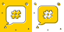 Black Hashtag Speech Bubble Icon Isolated On Yellow And White Background. Concept Of Number Sign, Social Media Marketing, Micro Blogging. Random Dynamic Shapes. Vector Illustration