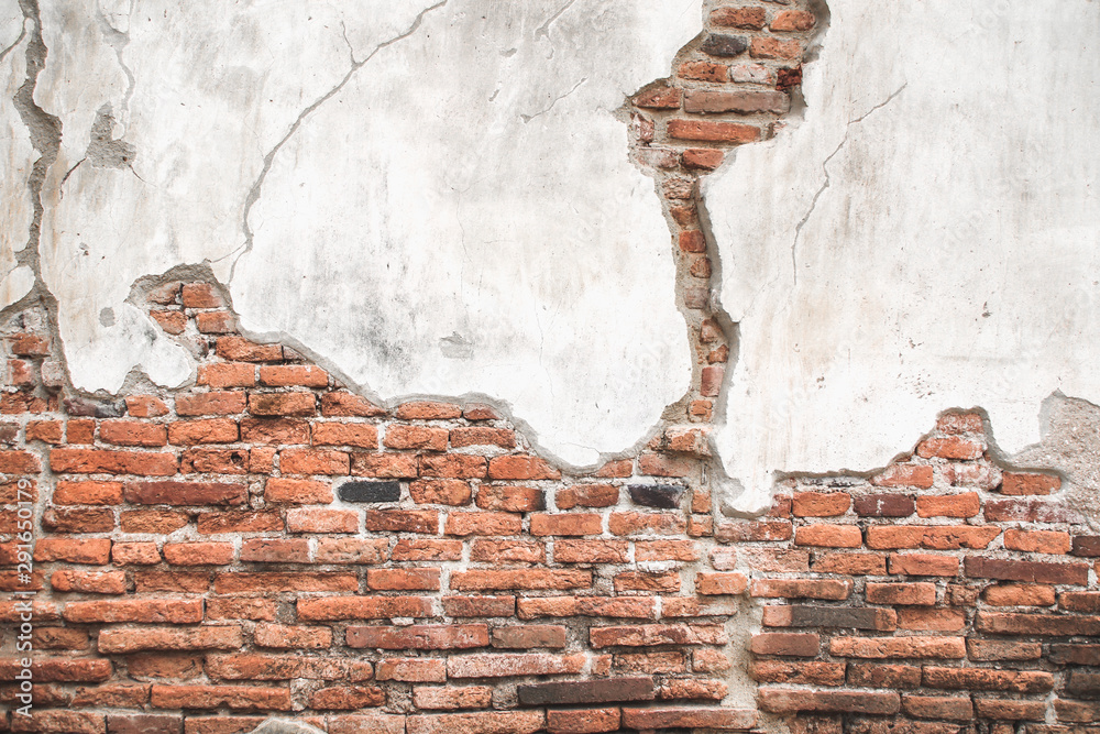 Fototapeta Old brick wall with cement texture background.