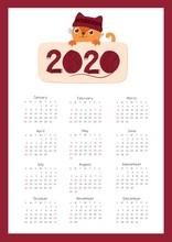 2020 Calendar With A Cute Kitt...
