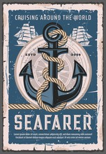 Nautical Anchor With Rope, Seafarer Sailing Ship