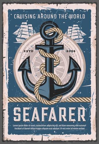 Nautical anchor with rope, seafarer sailing ship Obraz na płótnie