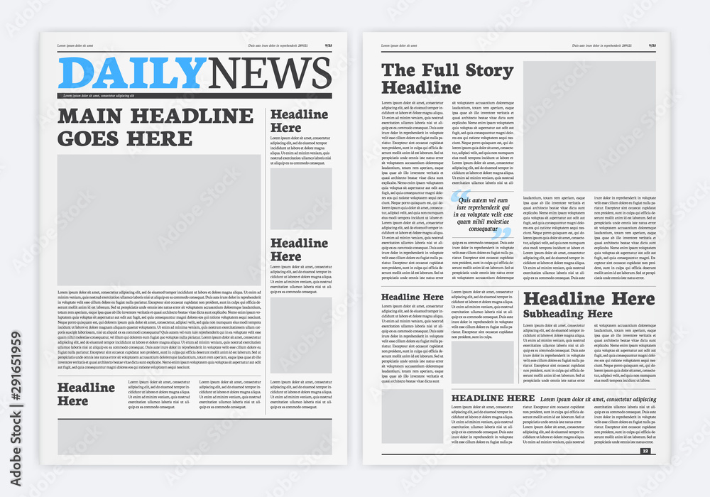 Fototapeta Graphical Layout Newspaper Template