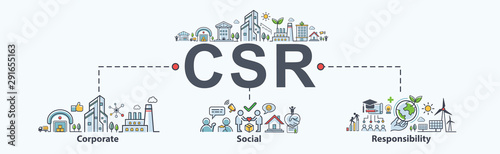Photo CSR Banner web icon for business and organization, Corporate social responsibility and giving back to the community