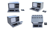 Old PC With CRT Monitor And Keyboard TV . COMPUTER VECCHI