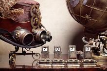 Mappamondo Steampunk Ingranaggi