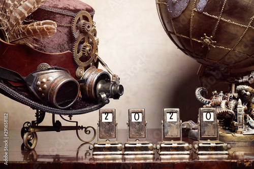 Mappamondo steampunk ingranaggi Canvas Print