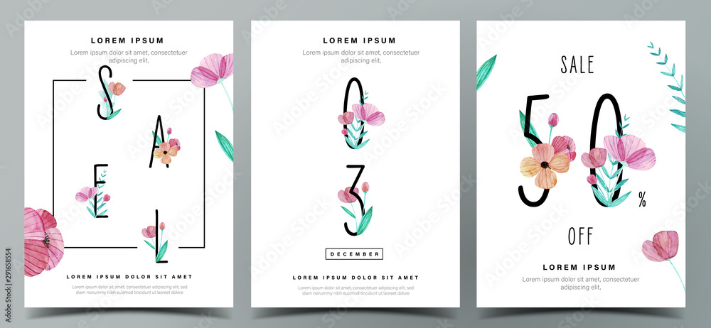 Fototapeta Set of cute poster template with watercolor floral decoration