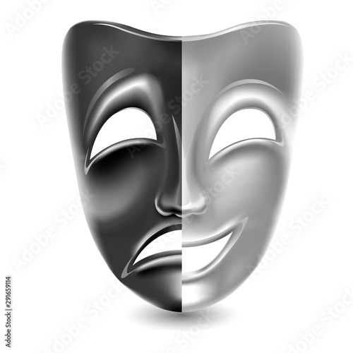 Theatrical masks. Black and white. Isolated. Mesh. Clipping Mask #291659114