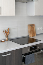 Kitchen With Built In Ceramic Induction Stove