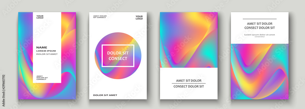 Fototapety, obrazy: Fluid shapes. Wavy liquid background. Bright neon abstract backdrop concept. Trendy gradient waves design set template vector Poster Layout Magazine Flyer Banner Brochure Cover