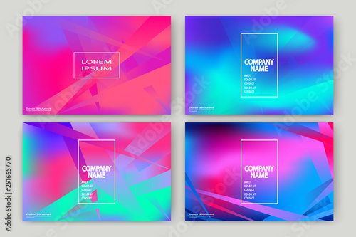 Fluid shapes. Wavy liquid background. Bright neon abstract backdrop concept. Trendy gradient waves design set template vector Poster Layout Magazine Flyer Banner Brochure Cover - 291665770