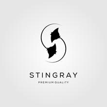 Stingray Letter S Initial Logo Design Silhouette Vector Illustration