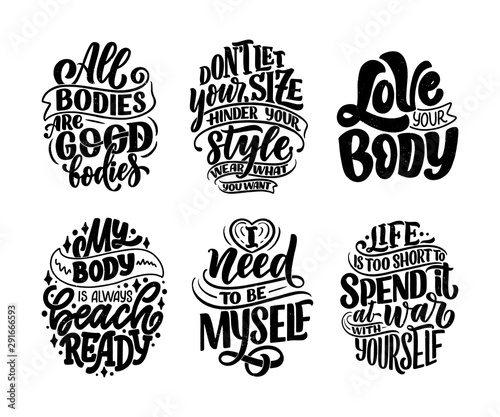 Printed kitchen splashbacks Positive Typography Set with body positive lettering slogans for fashion lifestyle design. Motivation typography posters and prints. Vector illustration.