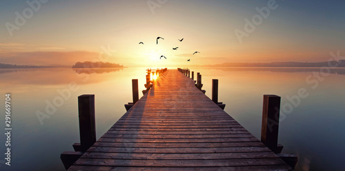 Photo sur Aluminium Ponts magisches Licht am See