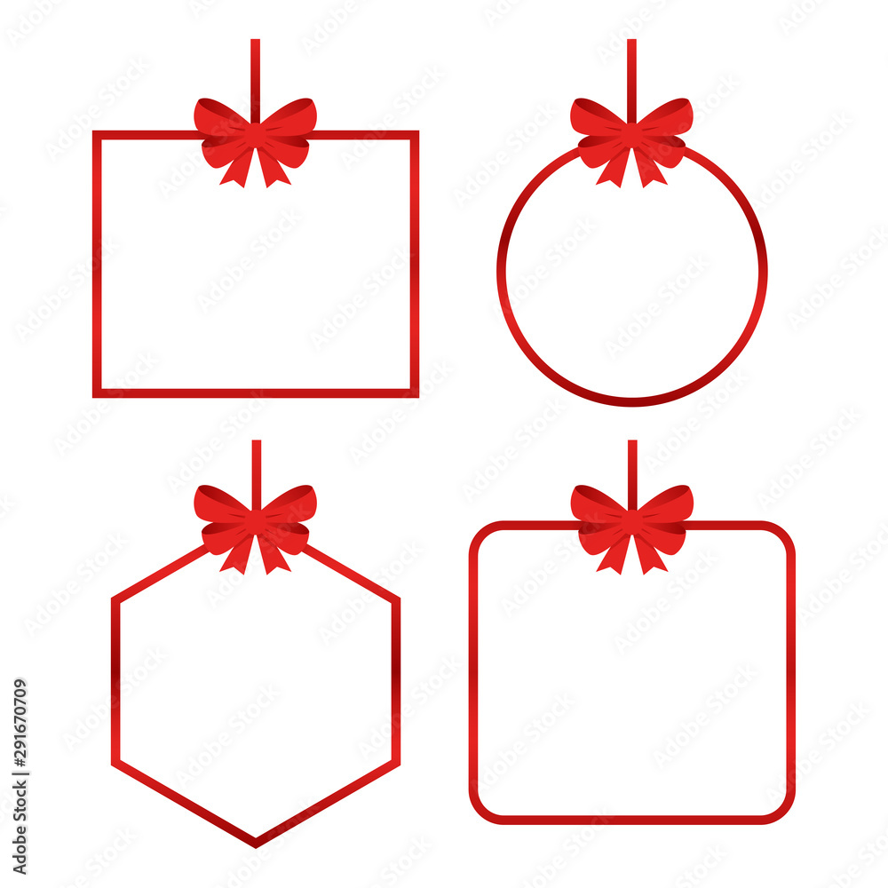 Fototapeta Set of beautiful cards with red gift bows with ribbons Vector
