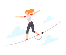 Character Walking Tightrope Ve...