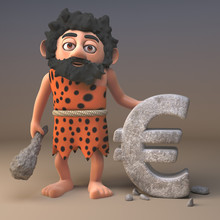 3d Cartoon Prehistoric Caveman Character Has Carved A Euro Currency Symbol In Rock, 3d Illustration