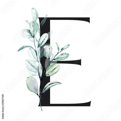 Letter E, Floral alphabet with watercolor leaves eucalyptus. Monogram initials perfectly for wedding invitations, greeting card, logo, poster and other design. Holiday decoration hand painting.  Wall mural