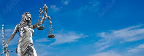 Lady Justice Statue Blue Sky Wallpaper Mural