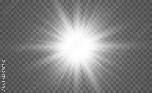 Fototapeta Bright beautiful star. Light from the rays.Light flare special effect.Vector illustration. obraz na płótnie