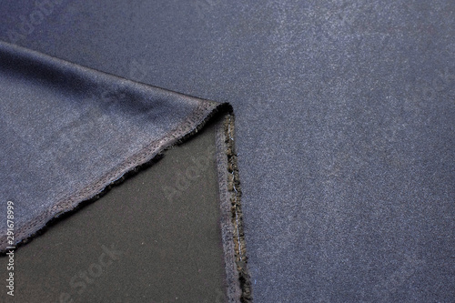 Poster Macro photographie Texture, background, pattern. Black Rayon Fabric for tailoring.