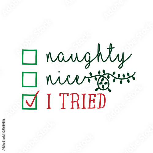 Foto Naughty, nice, I tried - Funny calligraphy phrase for Christmas