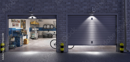 Photo Garage with two roller doors, look outside at night, 3d illustration