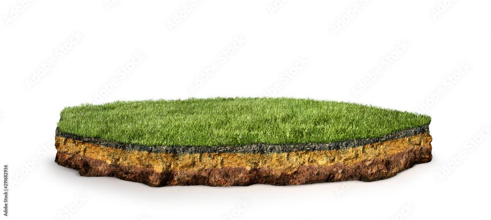 Fototapeta island .Cross section of land with grass. 3d illustration